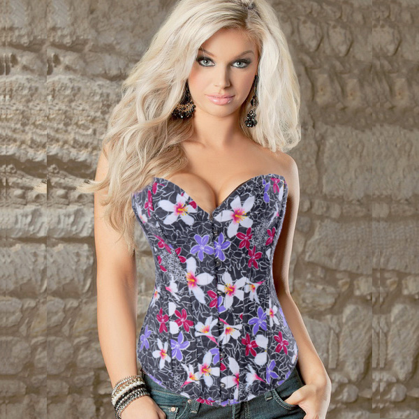Wholesale Flowers Denim Corset OUC723