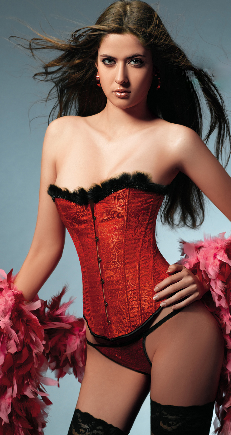 Wholesale Fur Trimmed Corset OUC1098