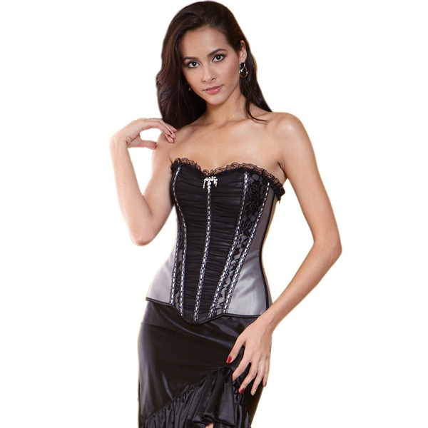 Wholesale Gray Pleated Corset OUC534