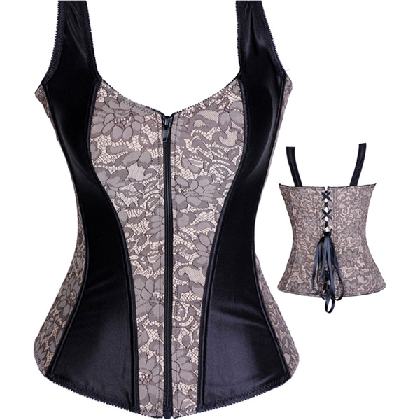 Wholesale Lace and Satin Halter Corset OUC640