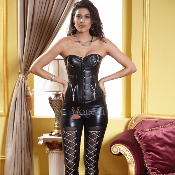 Wholesale Leather Corset With Zippers & Buckles OUC525