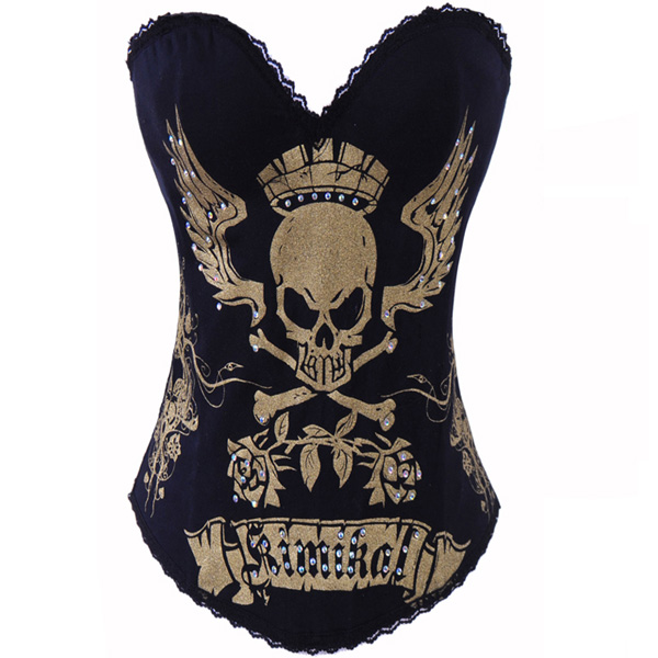Wholesale Lord Skull Printed Corset Gold OUC811