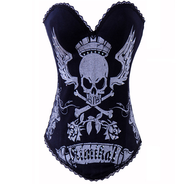 Wholesale Lord Skull Printed Corset Silver OUC816