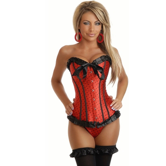 Wholesale Red Burlesque Polka Dot Corset OUC1030