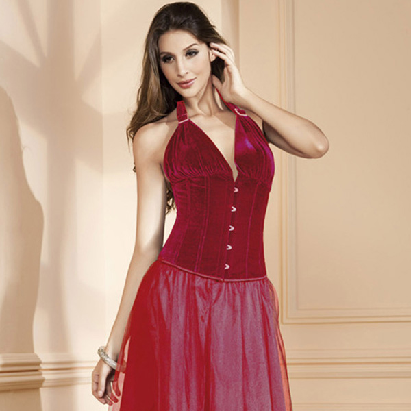 Wholesale Red Halter Velvet Corset OUC643