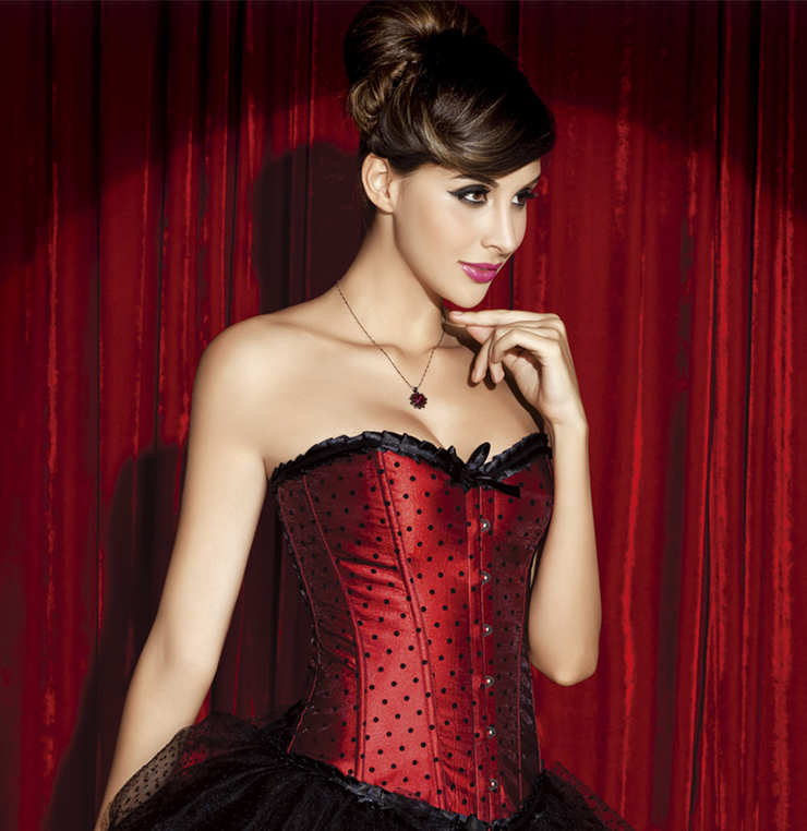 Wholesale Red Polka Dot Corset OUC1029