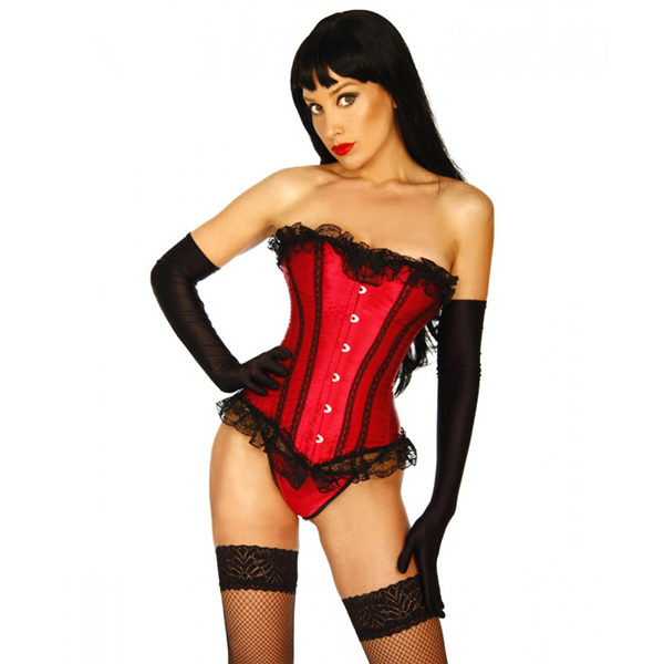 Wholesale Satin Ruffled Strapless Corset OUC1135