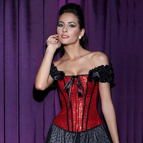 Wholesale Sequin Lace-Up Corset OUC526