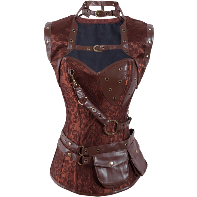 Wholesale Steampunk High Neck Corset with Jacket OUC516