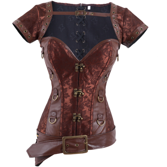 Wholesale Steampunk Overbust Corset with Jacket & Blet OUC517