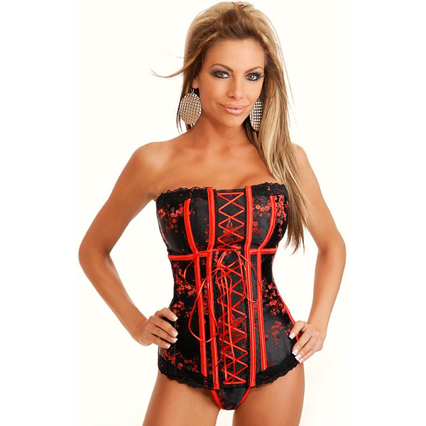 Wholesale Strapless Asian Brocade Corset OUC1097