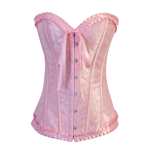 Wholesale Strapless Pink Burlesque Corset OUC864