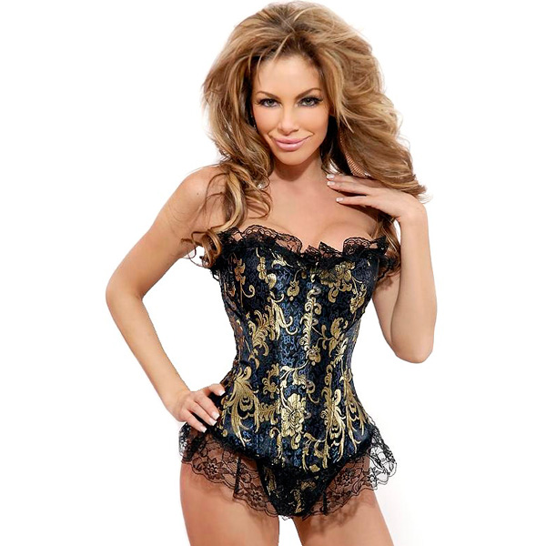 Wholesale Strapless Ruffled Brocade Corset OUC1114