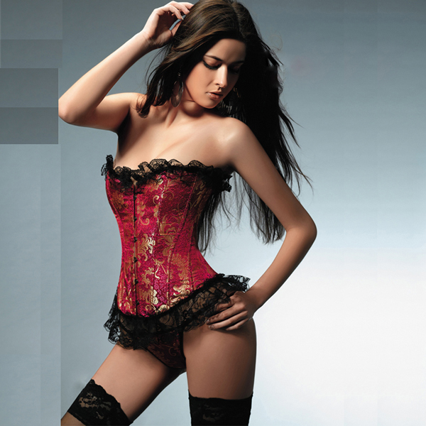 Wholesale Strapless Ruffled Brocade Corset OUC1115