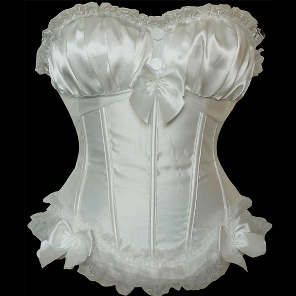 Wholesale White Peasant Burlesque Corset OUC949