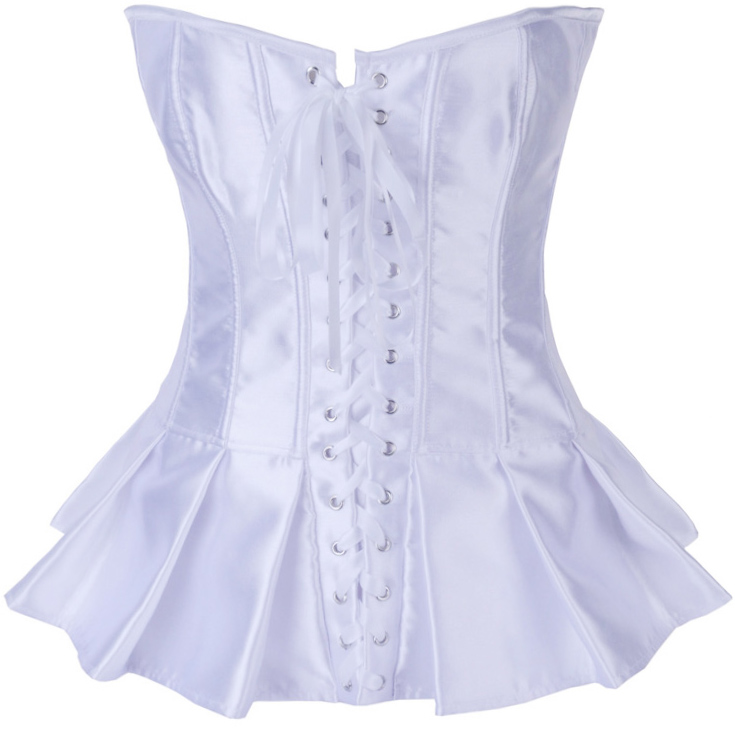 Wholesale White Satin Skirted Corset OUC614