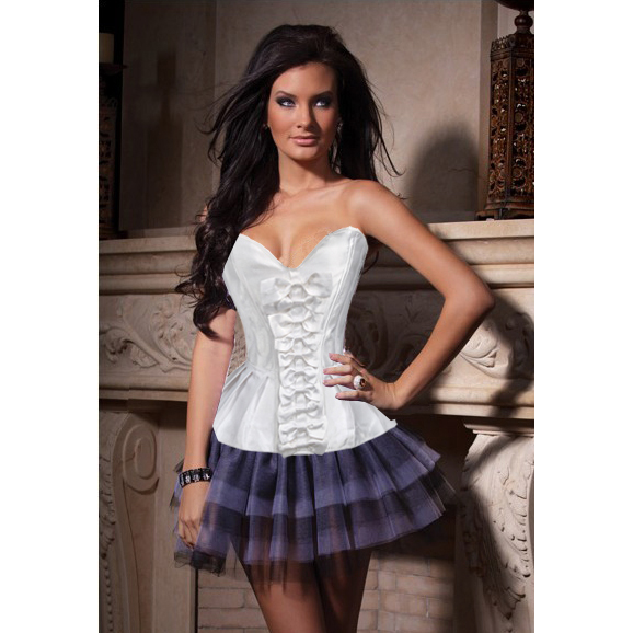 Wholesale White corset & thong OUC836