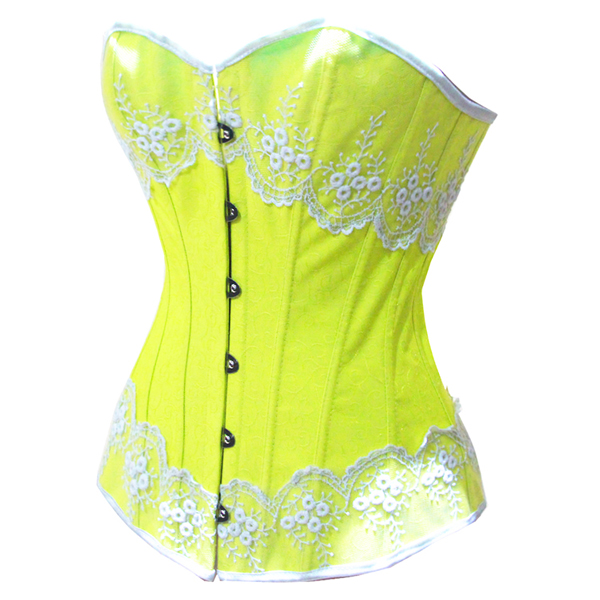 Wholesale Yellow Brocade Fabric Corset OUC519