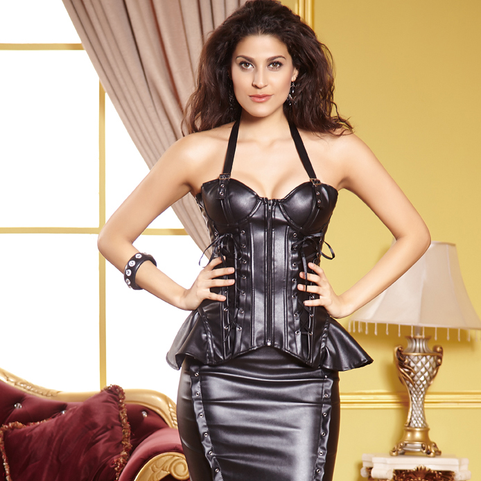 Wholesale Faux Leather Lace-Up Corset PLC507