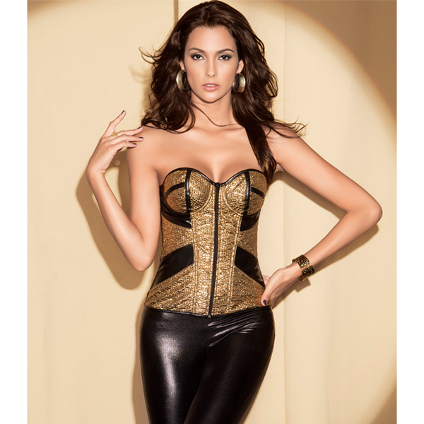 Wholesale Gold Snake Skin Zipper Front Corset PLC513