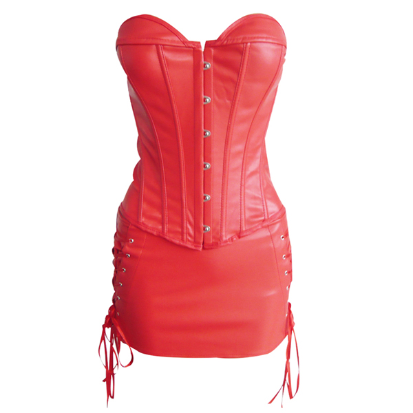 Wholesale Leather Corset & Skirt Set PLC583