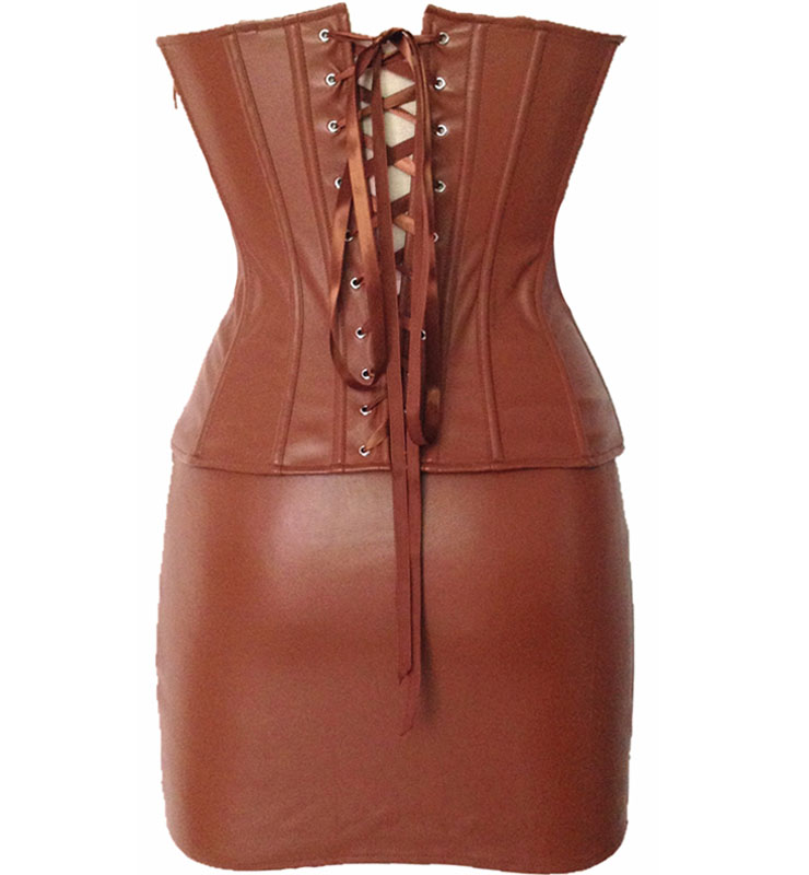 Wholesale Leather Corset Studded Sets & Pettiskirt PLC505