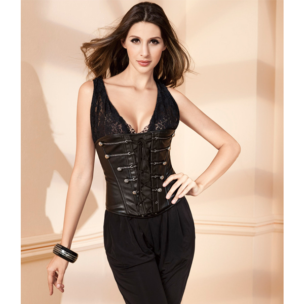 Wholesale Leather Underbust Corset PLC573