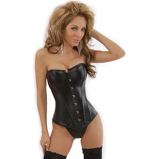 Wholesale Strapless black Leather Corset PLC587
