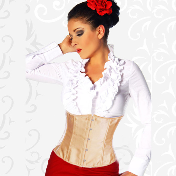 Wholesale Brown satin underbust corset UNC530
