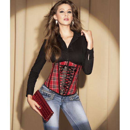 Wholesale Plaid Underbust Corset UNC545