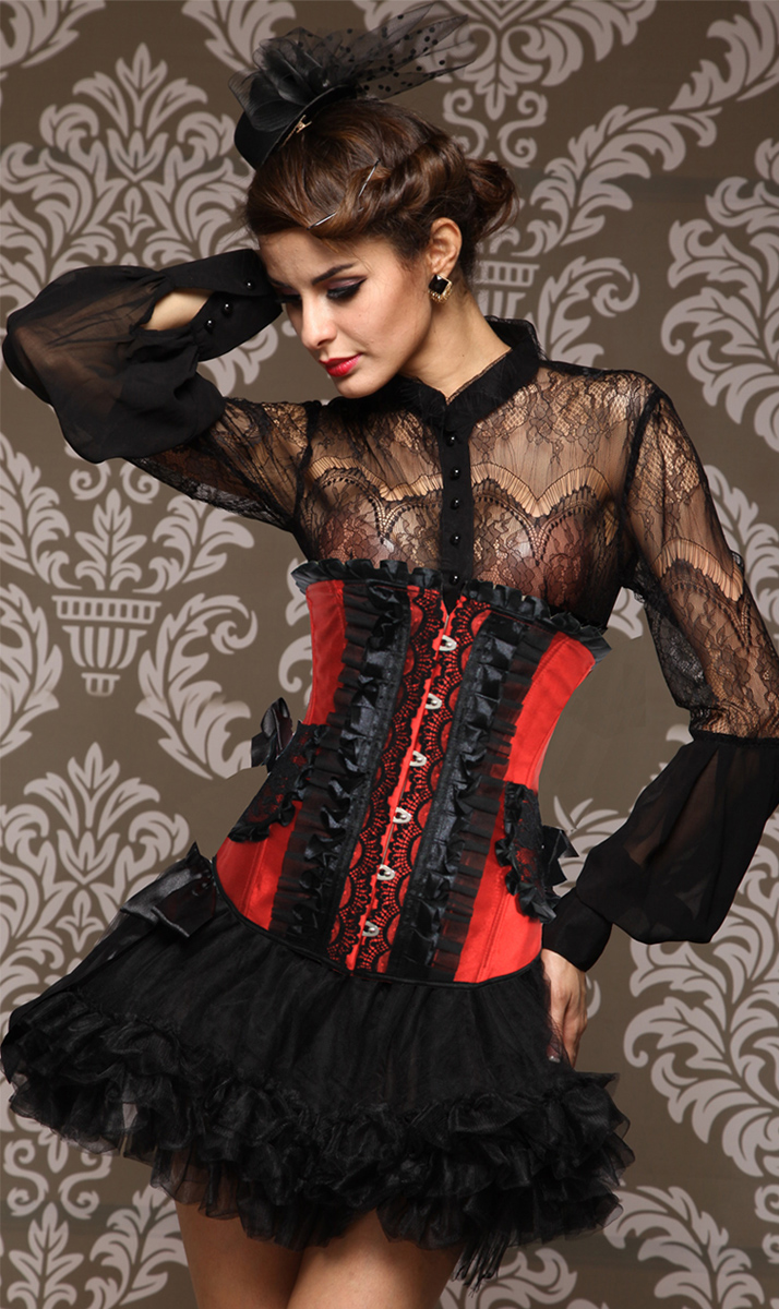 Wholesale Pleated Lace Trimming UnderBust Corset UNC543