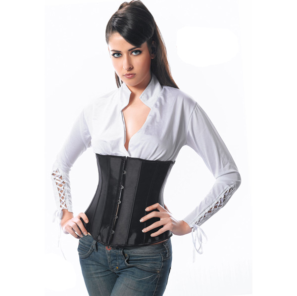Wholesale black satin underbust corset UNC574