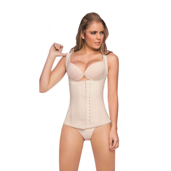 Womens 3 Hook Full Vest Latex Waist Cincher Girdle Band Beige Corsets LC8018