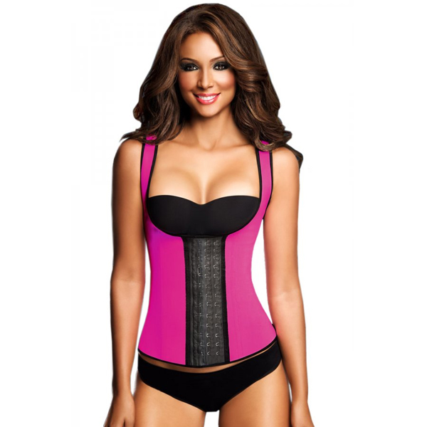 Womens 3 Hook Long Deportiva Latex Vest Body Shaper Pink Waist Training Corsets LC8017