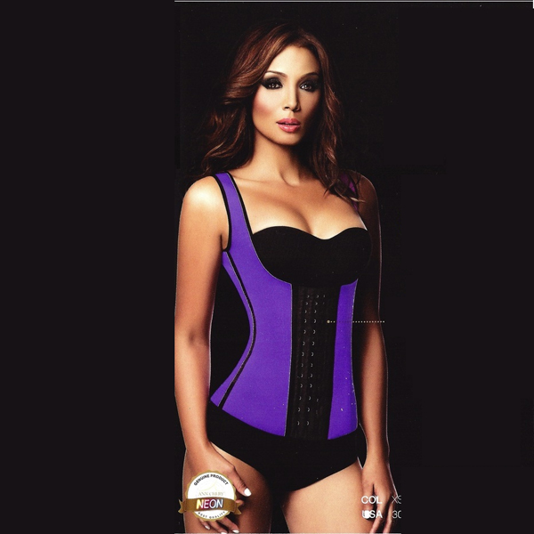 c7cd5c7854 Womens 3 Hook Long Deportiva Latex Vest Body Shaper Purple Waist Training  Corsets LC8019