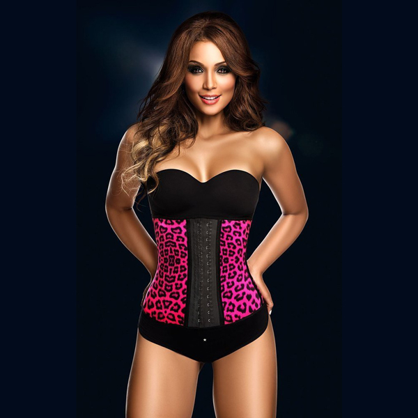 Womens Sexy Latex Sport Girdle Waist Training Rose Cheetah Leopard Corset Waist Shaper LC8034