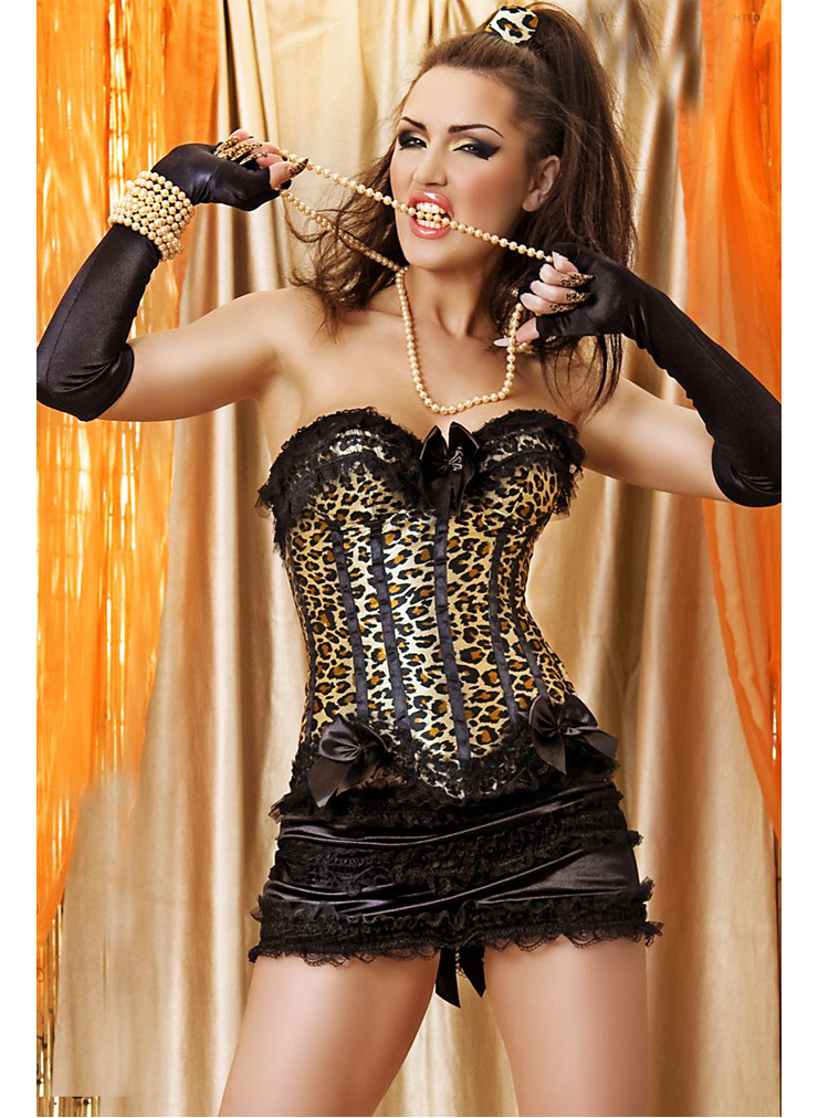 Wholesale leopard print Corset with skirt CPS602 [CPS602 ...