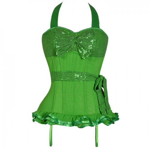 Wholesale Green Sequin Halter Top Corset BTS522