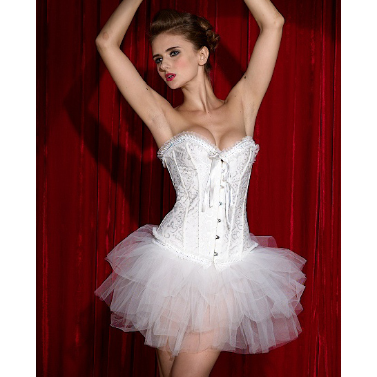 Wholesale Embroidered Burlesque Corset & Pettiskirt CPS557
