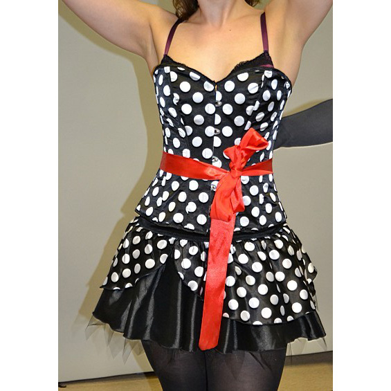Wholesale velvet polka dot corset & skirt CPS538