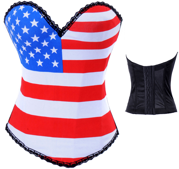 Wholesale American Flag Print Corset OUC584