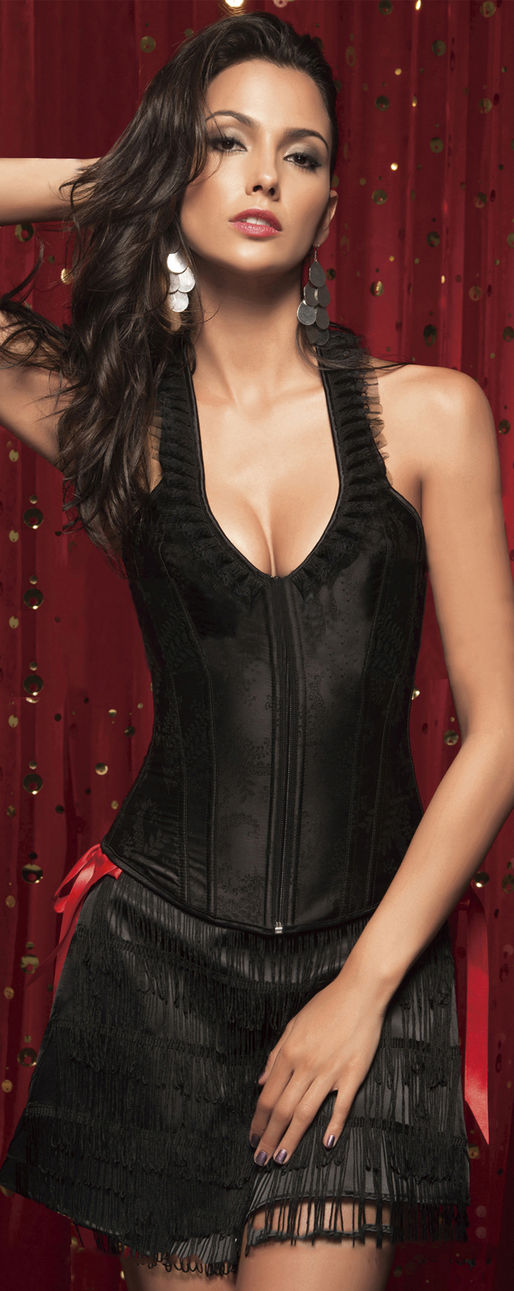 Wholesale Black Brocade Full-Back Corset OUC681
