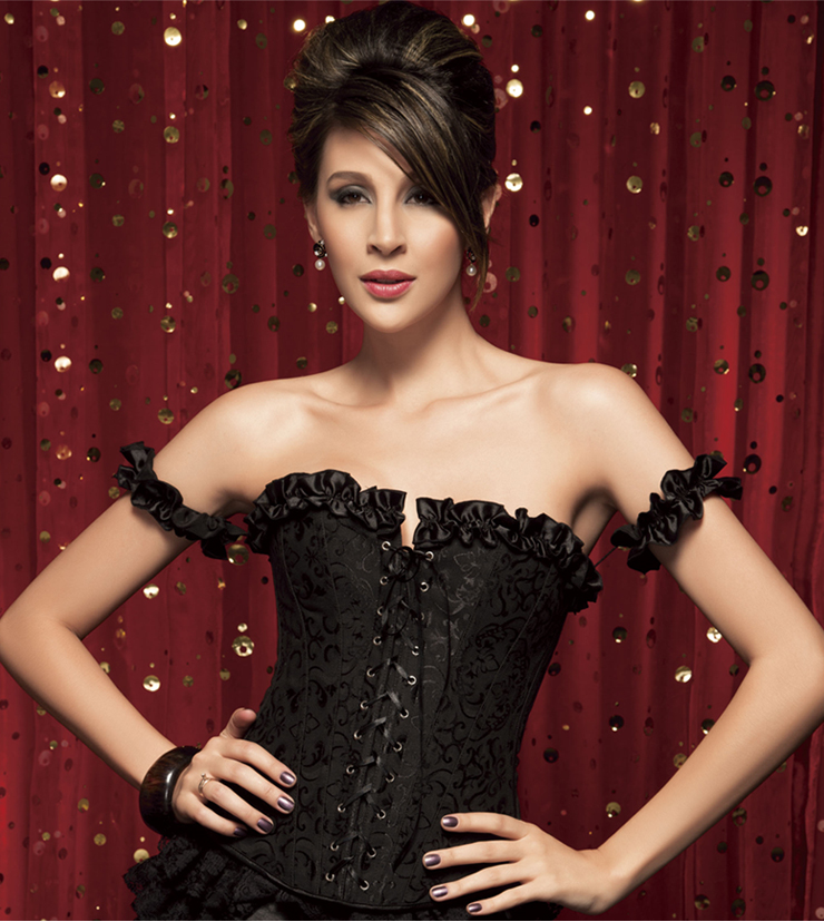 Wholesale Black Tie-Strap embroidered Corset OUC763