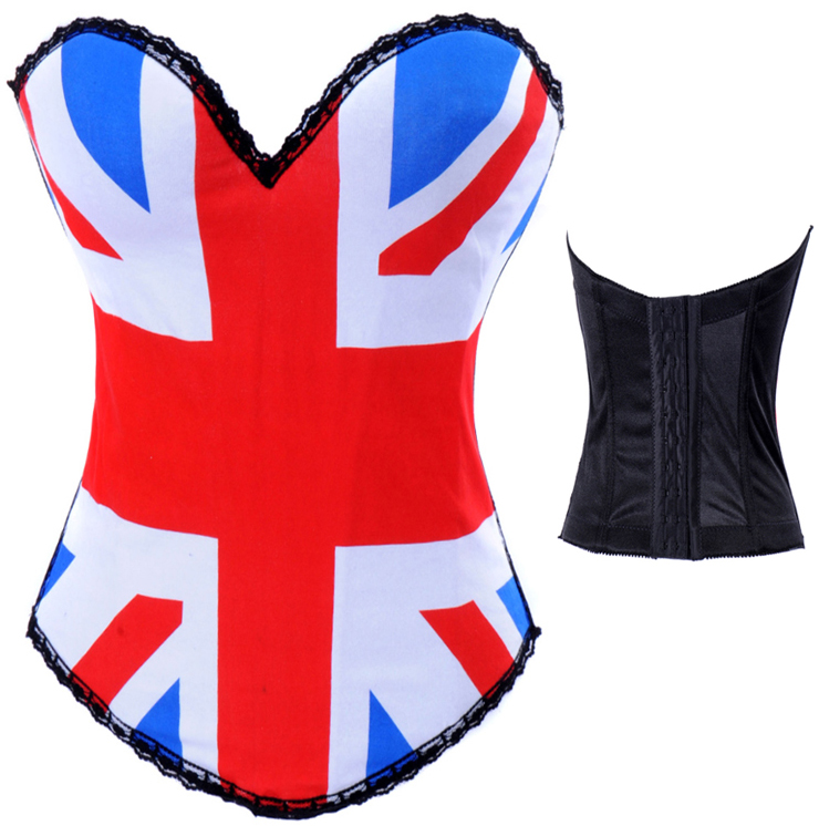 Wholesale British flag Print Corset OUC583