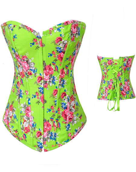 Wholesale Floral Fantasy Demin Corset Green OUC737