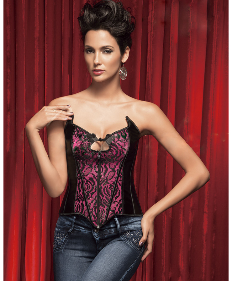 Wholesale Flower Velvet Corset with rhinestone accents OUC769