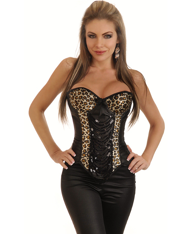 Wholesale Leopard & Sequin Underwire Corset Top OUC874