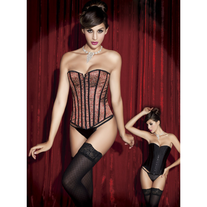 Wholesale Red Leopard Reversible Corset OUC657
