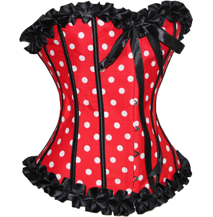 Wholesale Red Polka Dot Corset OUC849