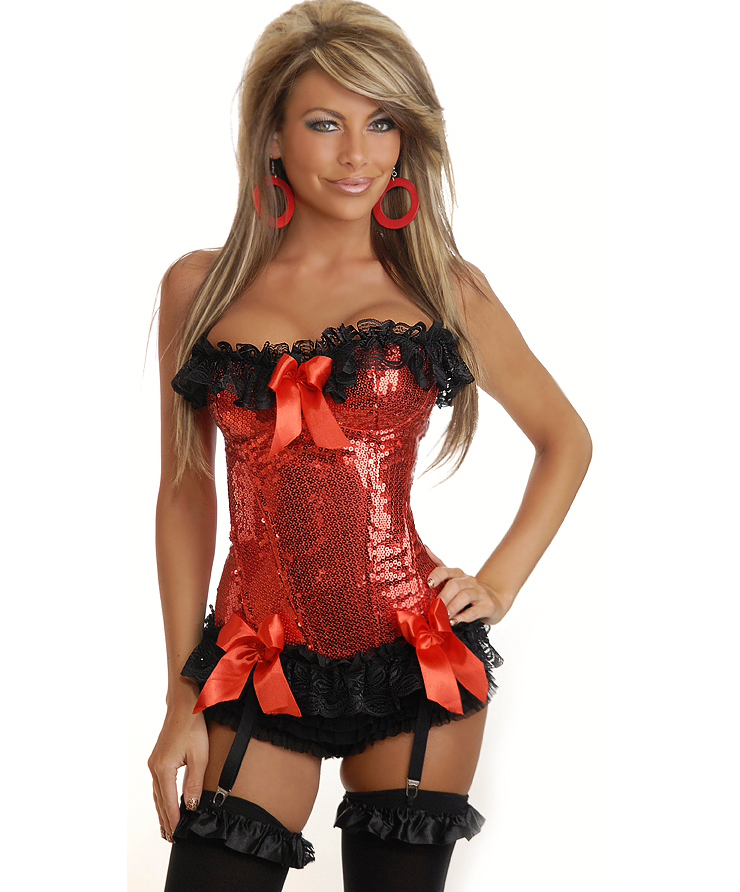 Wholesale Red Sequin Underwire Corset OUC882